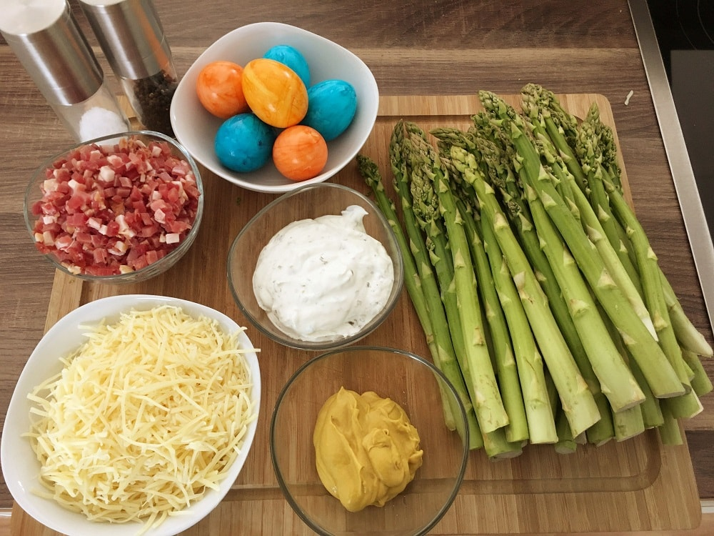 Zutaten für Low Carb Spargelauflauf mit Senfkruste