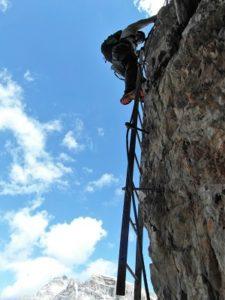 Ausgesetze stelle am Toblinger Knoten Leiternsteig, Dolomiten Klettersteig, Leiternsteig