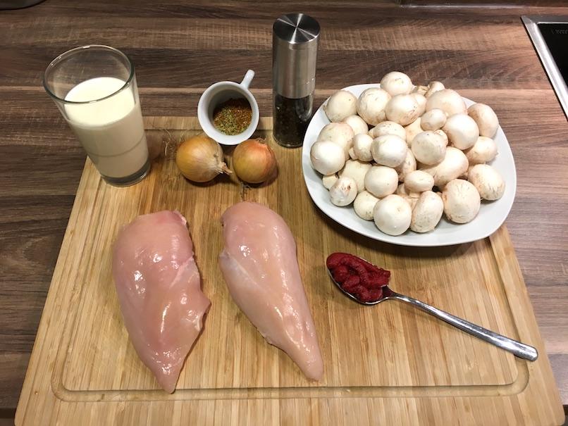 Zutaten für Schnelle Low Carb Geflügelpfanne mit Champignons