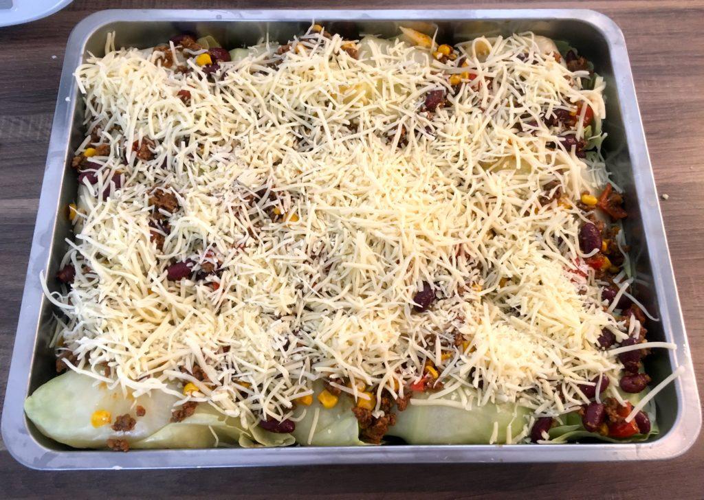 Burrito Auflauf fertig für den Ofen