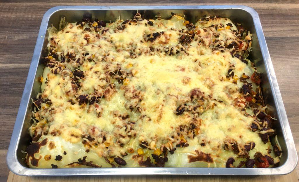 fertiger Burrito Auflauf mit Weißkohl und Tacco Gewürz
