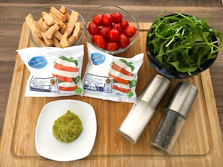 Zutaten für unseren Mozzarella Wrap