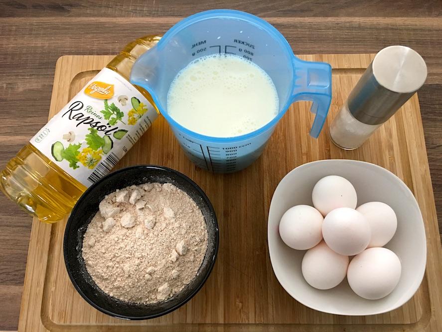 Zutaten für Vollkorn Pfannkuchen