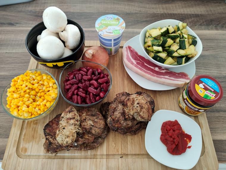 Zutaten für Grillreste verwerten - Unser Protein Auflauf
