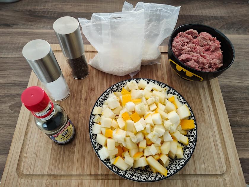 Zutaten für gelbe Zucchini Reispfanne