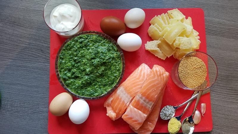 Zutaten Lachs Spinat Auflauf mit Couscous