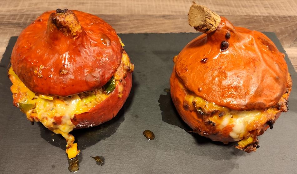 Rezept Gefüllter Hokkaido Kürbis mit Lauch und Hackfleisch
