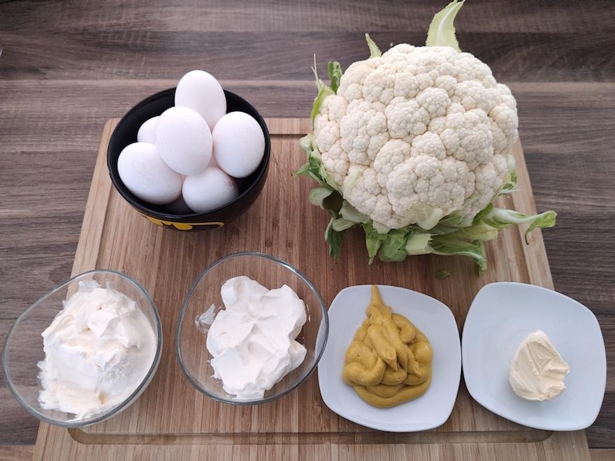 Eier in Senfsoße mit Blumenkohl - Low Carb Zutaten