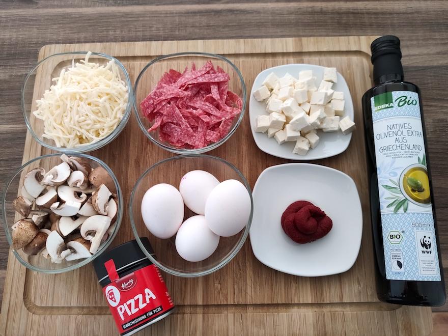 Zutaten für unsere Low Carb Eier Pizza