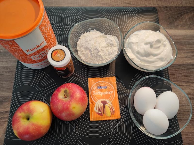 Zutaten für Skyr Pfannkuchen mit Zimt und Xucker