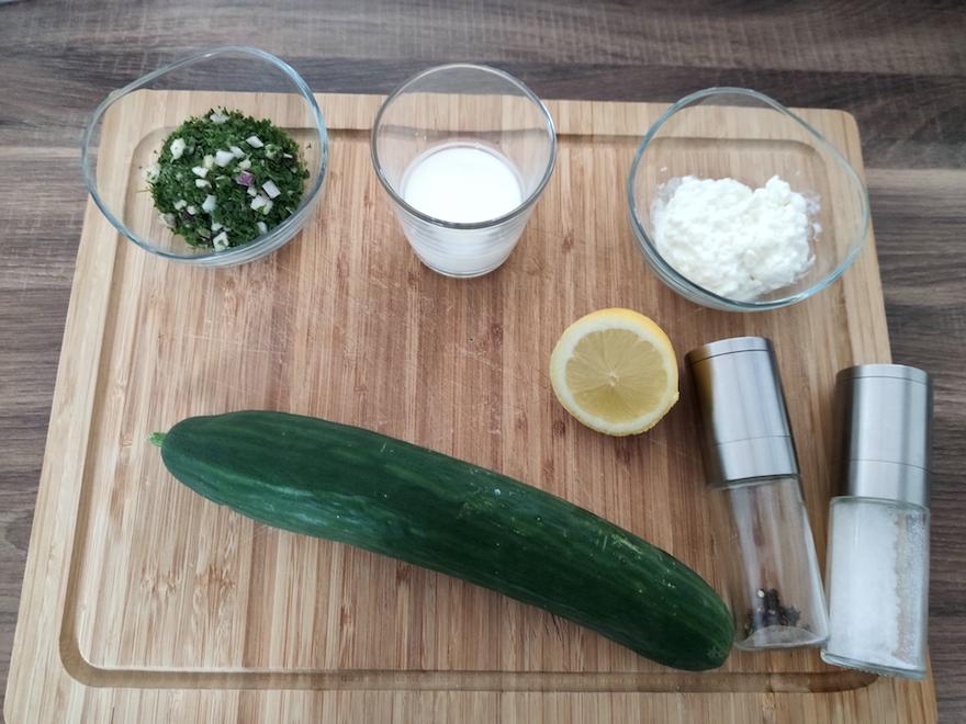 schneller proteinreicher Gurkensalat Zutaten